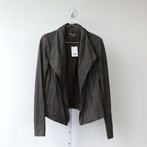 Vince Gray Zip-Front Lamb Leather Jacket